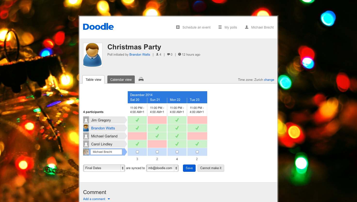 Plan your Christmas party with Doodle