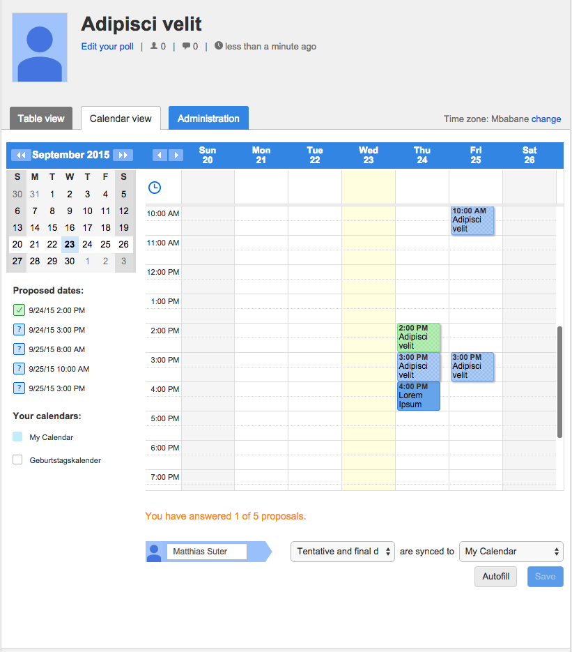 Calendar integration by Doodle - easy scheduling